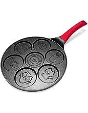 Nrpfell Pancake Maker - Non-Stick Pancake Pan Griddle Grill Pan Crepe Maker 7-Mold Pancakes with Silicone Handle, Black Animal