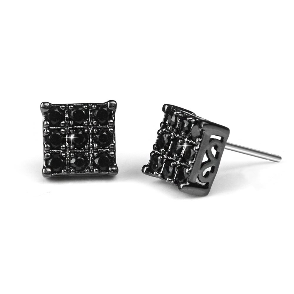 Black Diamond Stud Earring for Men Square Sensitive Ears, 8mm