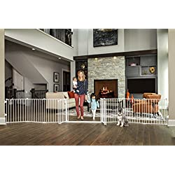 Regalo 192-Inch Double Door Super Wide Gate and Adjustable 8-Panel Play Yard, White
