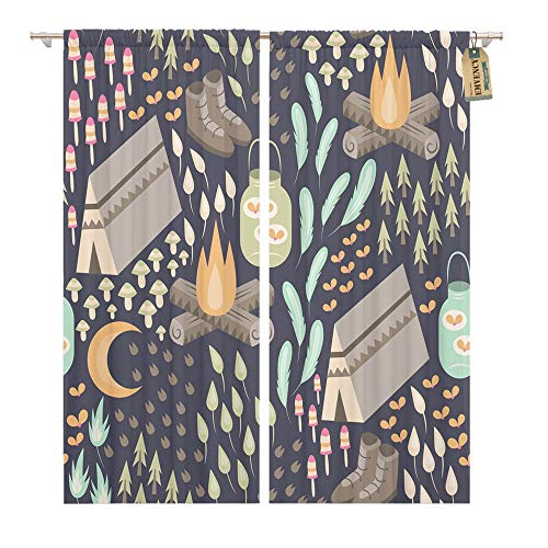 Emvency Window Curtains 2 Panels Rod Pocket Drapes Satin Polyester Blend Fun Camping Various Outdoors Including Campfire Tent Hiking Boots Fireflies Living Bedroom Drapes Set 104 x 96 Inches