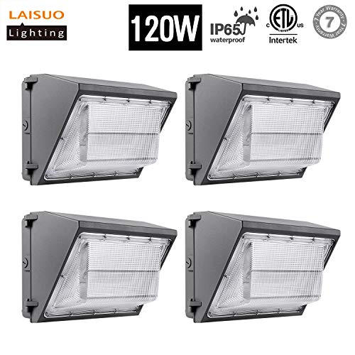 LED Wall Pack Light 120W (300W Equivalent) Wall Pack LED light 5000K Daylight White, Isolated Power 14400Lm IP65 Outdoor Lighting for Commercial, Industrial, Walkways, parking lot, ETL Listed,4 Pack