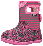 Bogs Baby Waterproof Insulated Toddler/Kids Rain Boots for Boys and Girls, Pansy Stripe Print/Pink/Multi, 8 M US Toddler