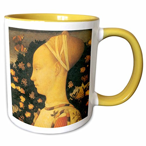 3dRose BLN Italian Renaissance Fine Art Collection - Ginepro dEste by Antonio Pisano - 15oz Two-Tone Yellow Mug (mug_127096_13)