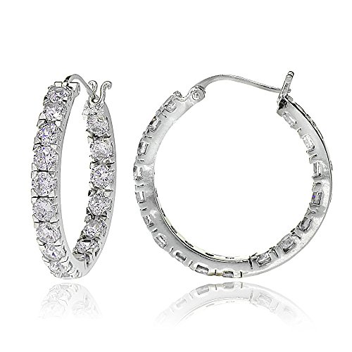 Sterling Silver Cubic Zirconia White CZ Inside Out 3 x 20mm Round Hoop Earrings One Pair Set Choose Color