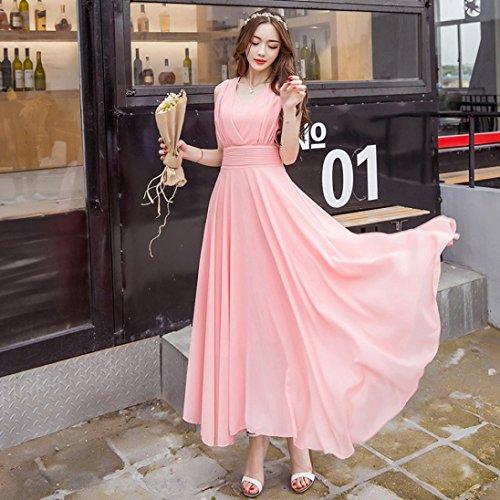 KIMODO Maxi Bridesmaid Beach Prom Party Sleeveless Womens Cocktail Dress Chiffon Pink Long AArFwgqRx