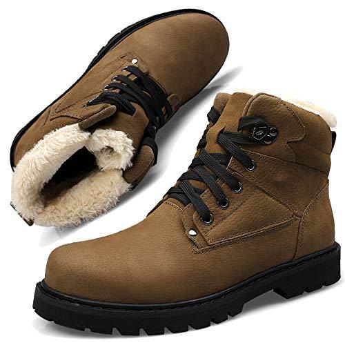 Invernale Invernale alla Neve Boot Pelle Black Impermeabile 38 38 38 Uomo Felpa Wintershoes 47CM Antiscivolo Caviglia Pelliccia con Stivali Folta Una Piattaforma twCqIYxp