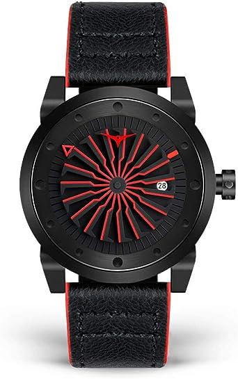 ZINVO Corsa Reloj Hombre Piel Negro Automatico Acero Rojo: Amazon.es: Relojes