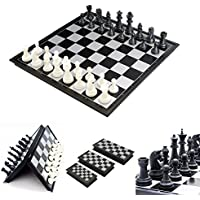 New Portable 2 in 1 Magnetic Foldable International Chess/Checkers Board Games Toy By KTOY