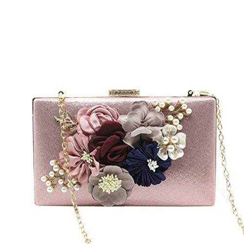 Female Bags Leather PU FlowerEvening Floral Handbag Clutches Bag Day Pink Shoulder Women's Ladies q46Rzn