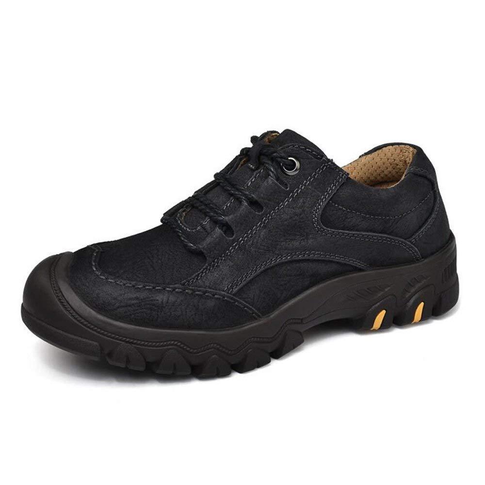 JINHAIXUE Chaussures de randonnée pour Hommes, Bottes de Travail extérieures à Lacets antidérapantes et résistantes à l'usure Noir 39 EU