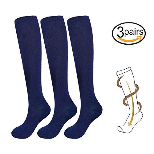 3 Pairs Knee High Graduated Compression Socks For Women and Men - Best Medical, Nursing, Travel & Flight Socks - Running & Fitness - 15-20mmHg (L/XL, Navy)