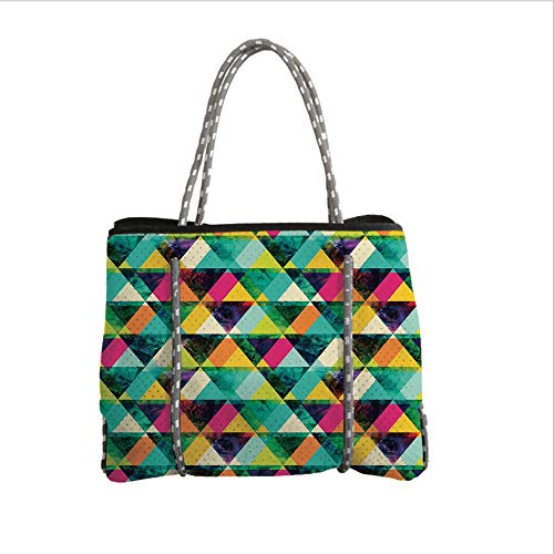 (Neoprene Multipurpose Beach Bag Tote Bags,Indie,Watercolor Triangles Pattern Modern Vibrant Colorful Geometric Grunge Abstract Design Decorative,Multicolor,Women Casual Handbag Tote)