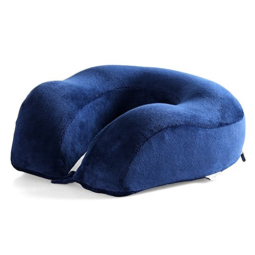 Cozy Hut Easy to Carry Memory Foam Travel Neck & Cervical Pillow, Head Chin and Neck Support Washable Micro-Fiber Cover with Storage Bag, Navy Blue by Cozy Hut (Image #2)