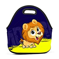 Lion in The Moon Insulated Neoprene Lunch Bag for Men Women and Kids - Reusable Soft Lunch Box for Work and School Water-Resistant 3D Printed