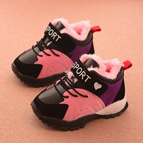 Baby Mädchen Jungen Kinder Sport Turnschuhe Upxiang Plus Flusen Warme Schuhe Kinder Neugeborenen Schalt Winter Warme Sportschuhe Stiefel(9M-3T) Rosa