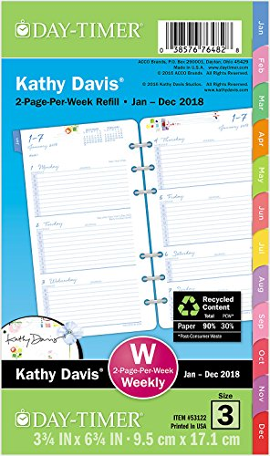 "Day-Timer Two Page Per Week Planner Refill, January 2018 - December 2018, 3-3/4"" x 6-3/4"", Loose Leaf, Portable Size, Kathy Davis (531221801)"