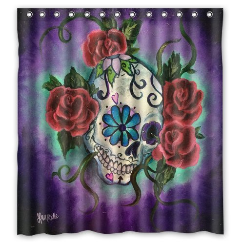 Unique and Generic Sugar skull tattoo Shower Curtain Custom Printed Waterproof fabric Polyester Bath Curtain 66