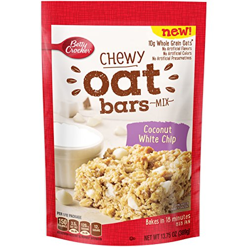 Betty Crocker Baking Mix, Chewy Whole Grain Oat Bars, Coconut White Chip, 13.75 Oz (Pack of 8) -
