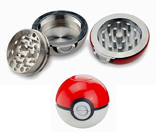 53mm Pokemon Poke-ball Herb Spice Grinder Aluminum 3 Layer