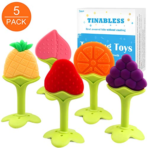 (Teething Toys (5 Pack) - Tinabless Infant Teething Keys Set, BPA-Free, Natural Organic Freezer Safe for Infants and Toddlers, Silicone Baby Teethers)