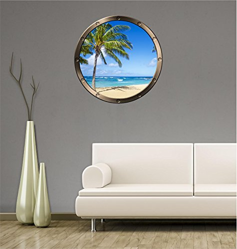 36  Porthole Ship Window Ocean Sea View Tropical Beach Day  1 Pewter Wall Sticker Kids Decal Baby Room Home Art D Cor Den Man Cave Graphic Large