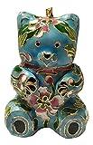 Cloisonne Teddy Bear Blue Christmas Holiday Ornament