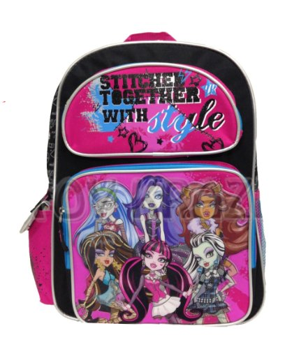 Full Size Stitched Together Monster High Backpack - Monster High Bookbag for -