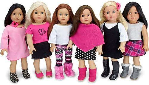 [해외]Sophia`s American Girl 사이즈 믹스 앤 매치 가을 세트 블랙 화이트 및 핑크 인형 옷 11개의 완벽한 옷장 aœ\u201d 예산 친화적 라인 / Sophia`s American Girl Sized Mix and Match Fall Set Black, White and Pink Doll Clothes, Complete Wardrobe ...