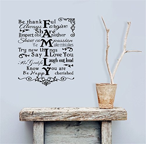 Mary-Quotes Removable Wall Decals Inspirational Vinyl Wall Art Family Rules living room bedroom be thankful show compassion be happy cherished
