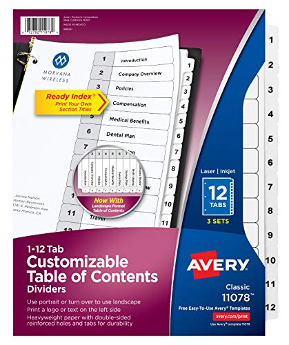 Avery Ready Index Table of Contents Dividers, 12-Tab, 3 Sets (11078) ()