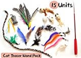 Ballmie Cat Toys Teaser Wand 15 Unit Refills, Interactive Cat Toys Cat Teaser Wand Cat balls mice bells caterpillars …