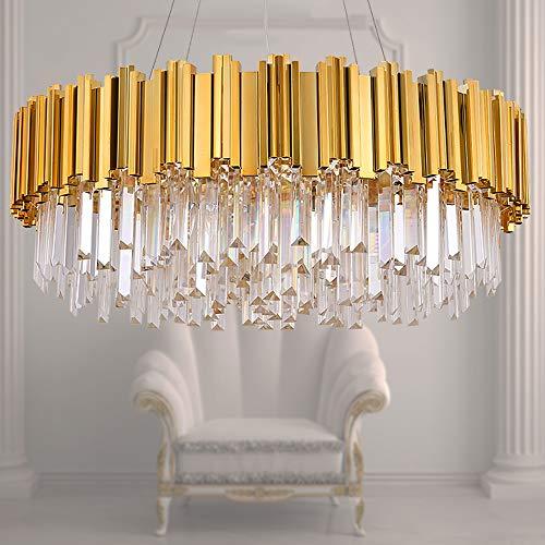MEELIGHTING Raindrop Gold Plated Modern Crystal Chandelier Lights Luxury Pendant Ceiling Light Contemporary Chandeliers Lighting Fixture for Dining Living Room Kitchen Island Bedroom W27.6