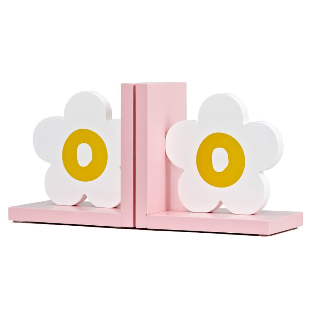 Bookends bookshelf wooden children's room bookshelf decoration office bookcase mini bookshelf bookends (Color : Pink)