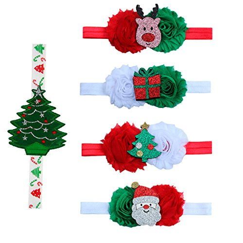 DreamFire Christmas Headband Baby Girl for Xmas Party Hair Bow Pack of 5