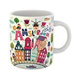 Emvency Coffee Tea Mug Gift 11 Ounces Funny Ceramic Colorful Holland in Cartoon Symbols of Amsterdam Travel Gifts For Family Friends Coworkers Boss Mug
