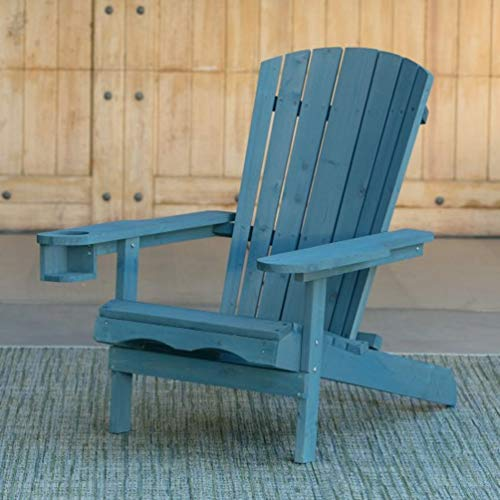 W Home WRED-031-1-BL Reclining Muskoka Chair with Ottoman, Blue