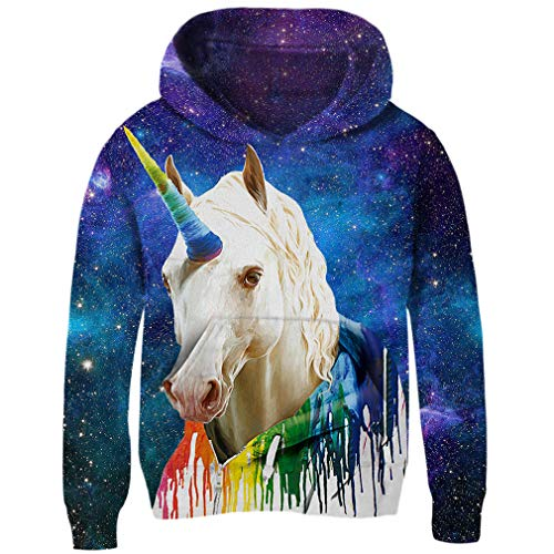 (Funnycokid Youth Boys Girls Hoodies 3D Crewneck Personalized Space Galaxy Stylish Unisex Pullover Hoodies)
