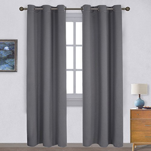 NICETOWN Three Pass Microfiber Noise Reducing Thermal Insulated Solid Ring Top Blackout Window Curtains / Drapes (Two Panels,42 x 84 (Gray Rectangular Ring)