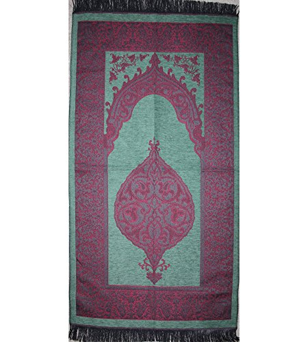 Islamic Prayer Mat Very Thin Woven Chenille Turkish Ottoman Janamaz (Green / Pink) by Modefa USA