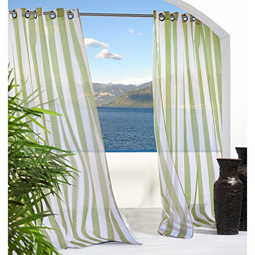 Commonwealth Escape Stripe 84 Grommet Curtain Panel In Green