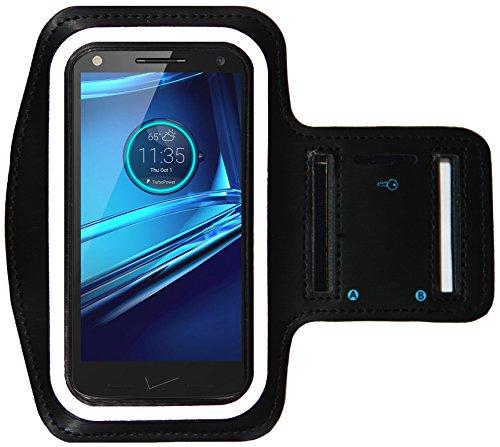 Sports Armband for Motorola Droid Turbo 2 , Moto X Force and Droid MAXX + Key Holder (Black)