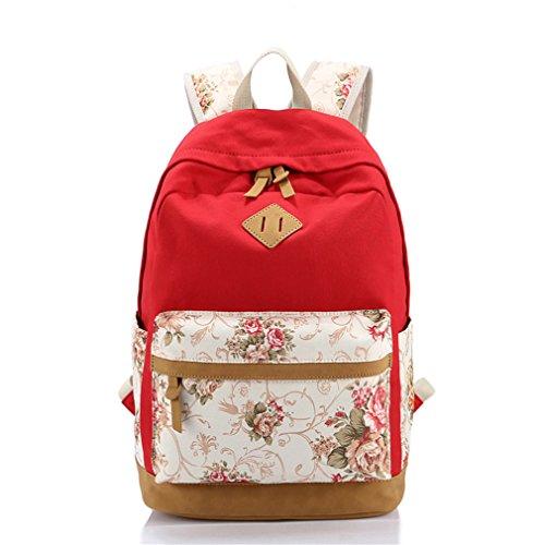 À Sacs Femmes Femmes Dos Red À Femelle D'école Sac Enfants Filles Cartable Dos Toile Impression Adolescentes Pour Sac Floral Les Sac XqxPBc