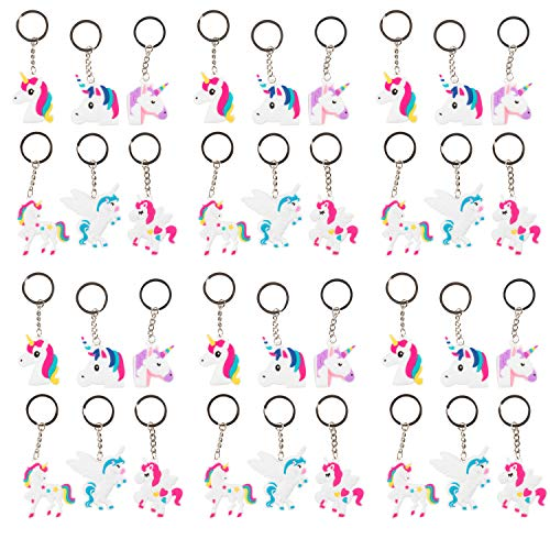 Rainbow Unicorn Key Chains - 36-Pack Silicone Rubber Keychains for Girls, Assorted Unicorn-Themed Party Supplies Favors, Ideal for Fantasy Parties, Magical Birthdays, Game Prizes