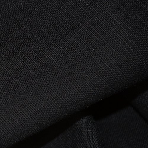 100% Linen Fabric - Jet Black | Superior Quality French Plain Linen Solid Fabric with a Beautiful Soft Feel and Handle (54 Inches Wide) - Per Yard