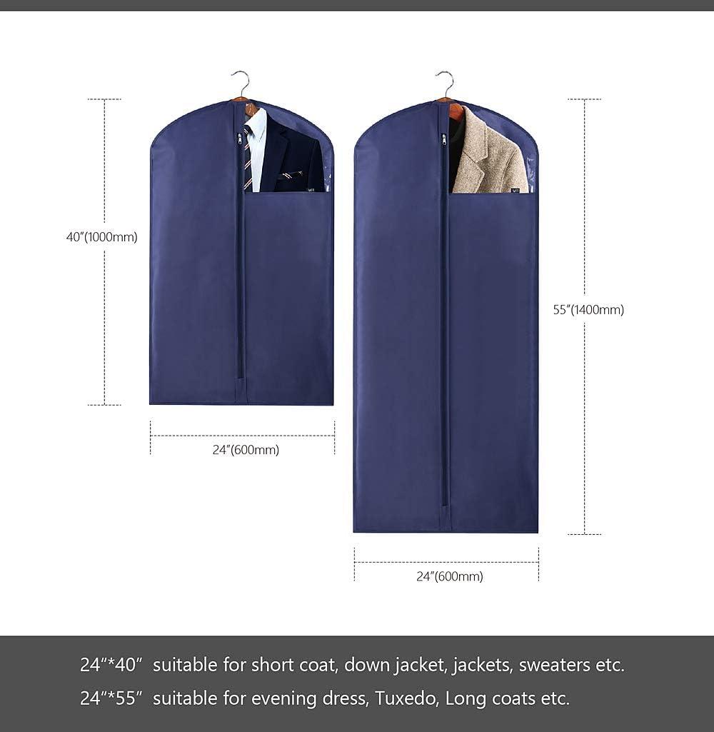 5er-Set dunkelgrau AMX Garderobenschutzh/üllen mit klarem Fenster f/ür Winterkleidung // langes Kleid // Uniform // Anz/üge 2 Gr/ö/ßen f/ür unterschiedlich lange Kleidungsst/ücke