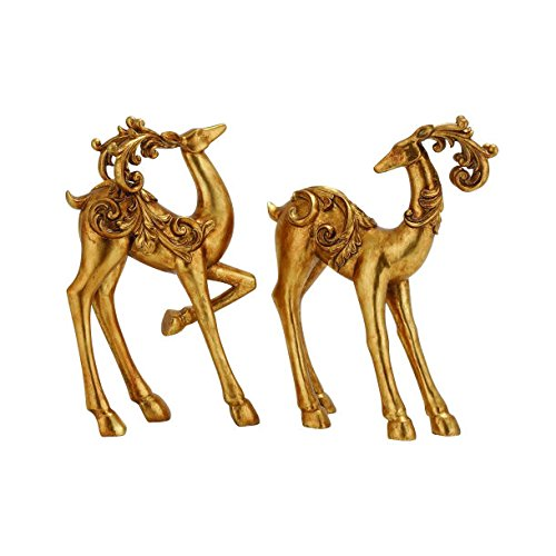 Christmas Tablescape Decor - Stunning Gold Decorative Reindeer Table Top Figurines Set of 2