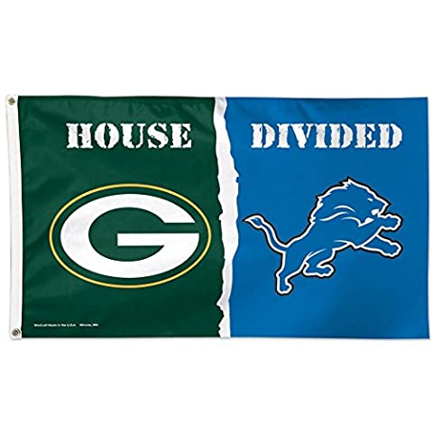 NFL Green Bay Packers vs. Detroit Lions House Divided Deluxe Flag, 3' x 5' - Green Bay Packers House