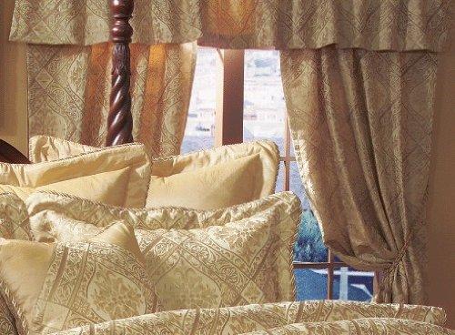 Amazon.com: 14 Queen Gold Imperial Comforter set w/ Curtain Set ...