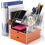Office Desktop Organizer and Storage,Desktop Organizer For Office/Home/School Collecting All Desk Office Supplies and Accessories, Acrylic, Clear kit, With set 2 Light Orange Drawers,Phone Holder