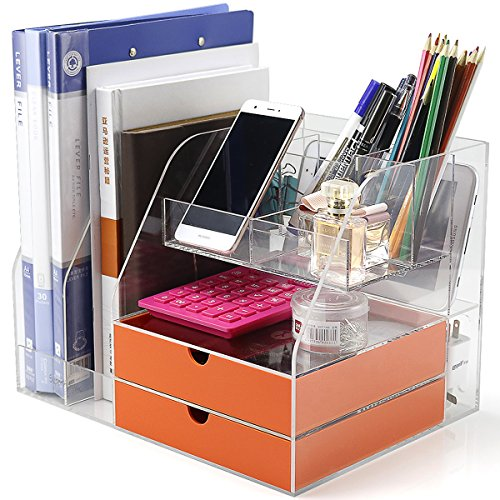 Office Desktop Organizer and Storage,Desktop Organizer Box For Office/Home/School Collecting All Desk Office Supplies and Accessories, Acrylic, Clear kit, With set 2 Light Orange Drawers,Phone Holder